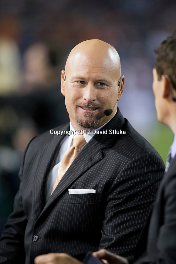 NFL Network commentator Trent Dilfer looks on during a Chicago Bears Week 7 Monday Night NFL football game against the Detroit Lions Monday, October 22, 2012 in Chicago. The Bears won 13-7. (AP Photo/David Stluka)
