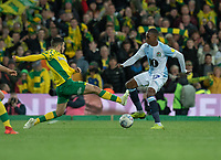 Blackburn Rovers' Amari'i Bell (left) is tackled by Norwich City's Emi Buendia (right) <br /> <br /> Photographer David Horton/CameraSport<br /> <br /> The EFL Sky Bet Championship - Norwich City v Blackburn Rovers - Saturday 27th April 2019 - Carrow Road - Norwich<br /> <br /> World Copyright © 2019 CameraSport. All rights reserved. 43 Linden Ave. Countesthorpe. Leicester. England. LE8 5PG - Tel: +44 (0) 116 277 4147 - admin@camerasport.com - www.camerasport.com