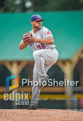9 July 2015: Mahoning Valley Scrappers pitcher Yoiber Marquina on the mound against the Vermont Lake Monsters at Centennial Field in Burlington, Vermont. The Scrappers defeated the Lake Monsters 8-4 in 12 innings of NY Penn League play. Mandatory Credit: Ed Wolfstein Photo *** RAW Image File Available ****