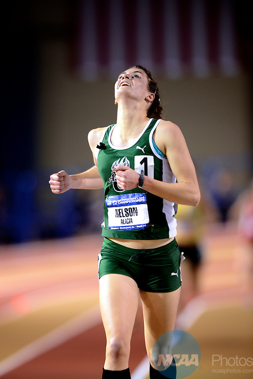 09 MAR 2013: Alicia Nelson of Adams State crosses the finish line of the Women's 3000 Meter Run lead the pack of runners in the women's 3,000 meter race during the Division II Men's and Women's Indoor Track and Field Championships held at the Birmingham CrossPlex in Birmingham, AL. Nelson won the race with a time of 9:38.92. Stephen Nowland/NCAA Photos