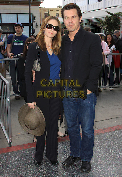 DIANE LANE & JOSH BROLIN .Mary Steenburgen Honored With Star On The Hollywood Walk Of Fame held On Hollywood Blvd., Hollywood, California, USA, 16th December 2009..full length black suit jacket shirt jeans trousers hat sunglasses blue top pinstripe coat married husband wife couple jeans .CAP/ADM/KB.©Kevan Brooks/Admedia/Capital Pictures