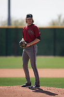 Arizona Diamondbacks relief pitcher Sam McWilliams (38) prepares to deliver a pitch during a Minor League Spring Training intrasquad game at Salt River Fields at Talking Stick on March 12, 2018 in Scottsdale, Arizona. (Zachary Lucy/Four Seam Images)
