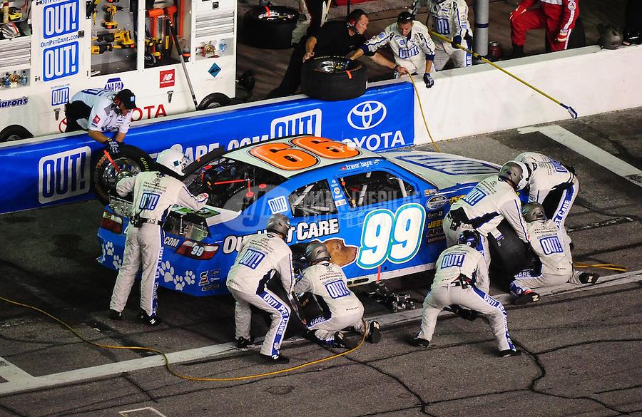 Jul. 2, 2010; Daytona Beach, FL, USA; NASCAR Nationwide Series driver Trevor Bayne pits during the Subway Jalapeno 250 at Daytona International Speedway. Mandatory Credit: Mark J. Rebilas-