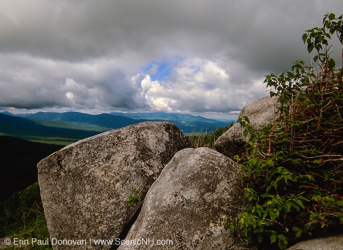 A scenic viewpoint along the Caps Ridge Trail in the White Mountains, New Hampshire USA on a cloudy day.