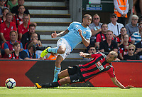 Steve Cook of AFC Bournemouth brings down Gabriel Jesus of Manchester City during the Premier League match between Bournemouth and Manchester City at the Goldsands Stadium, Bournemouth, England on 26 August 2017. Photo by Andy Rowland.