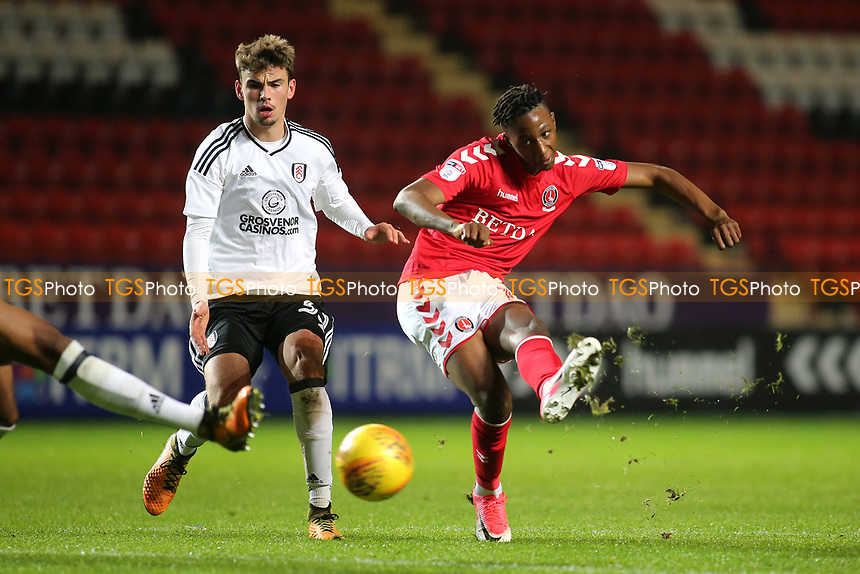 Charlton's Joe Aribo takes a shot at the Fulham goal during Charlton Athletic vs Fulham Under-21, Checkatrade Trophy Football at The Valley on 1st November 2017