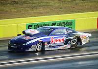 Sept. 21, 2012; Ennis, TX, USA: NHRA pro stock driver Jason Line during qualifying for the Fall Nationals at the Texas Motorplex. Mandatory Credit: Mark J. Rebilas-
