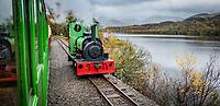 Pictured: The Llanberis Lake Railway by Llyn Padarn lake. Saturday 02 November 2019<br /> Re: North Wales, UK.