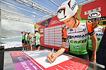 Bardiani CSF at sign on before the start of Stage 4 of Il Giro di Sicilia 2019 running 119km from Giardini Naxos to Mount Etna (Nicolosi), Italy. 6th April 2019.<br /> Picture: LaPresse/Massimo Paolone | Cyclefile<br /> <br /> All photos usage must carry mandatory copyright credit (&copy; Cyclefile | LaPresse/Massimo Paolone)