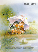 Ron, CUTE ANIMALS, Quacker, paintings, 2 ducks, umbrella(GBSG6460,#AC#) Enten, patos, illustrations, pinturas
