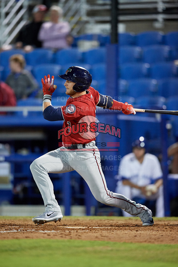 Fort Myers Miracle designated hitter Travis Blankenhorn (7) follows through on a swing during a game against the Dunedin Blue Jays on April 17, 2018 at Dunedin Stadium in Dunedin, Florida.  Dunedin defeated Fort Myers 5-2.  (Mike Janes/Four Seam Images)