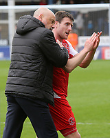 Fleetwood Town manager Uwe Rosler embraces Bobby Grant at the final whistle<br /> <br /> Photographer David Shipman/CameraSport<br /> <br /> The EFL Sky Bet League One - Peterborough United v Fleetwood Town - Friday 14th April 2016 - ABAX Stadium  - Peterborough<br /> <br /> World Copyright &copy; 2017 CameraSport. All rights reserved. 43 Linden Ave. Countesthorpe. Leicester. England. LE8 5PG - Tel: +44 (0) 116 277 4147 - admin@camerasport.com - www.camerasport.com
