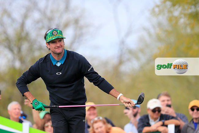 Bubba Watson (USA) on the 9th tee during the 3rd round of the Waste Management Phoenix Open, TPC Scottsdale, Scottsdale, Arisona, USA. 02/02/2019.<br /> Picture Fran Caffrey / Golffile.ie<br /> <br /> All photo usage must carry mandatory copyright credit (&copy; Golffile | Fran Caffrey)