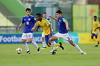 31st October 2019; Bezerrao Stadium, Brasilia, Distrito Federal, Brazil; FIFA U-17 World Cup Brazil 2019, Solomon Islands versus Paraguay; Javin Alick of Solomon Islands and Wilder Viera of Paraguay - Editorial Use