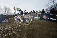 Sven Nys (BEL) attacking the mud straightaway and leaving a gap for the competition. Riding his brand new Trek Boone 9 for the very first time in competition.<br /> <br /> GP Sven Nys 2014