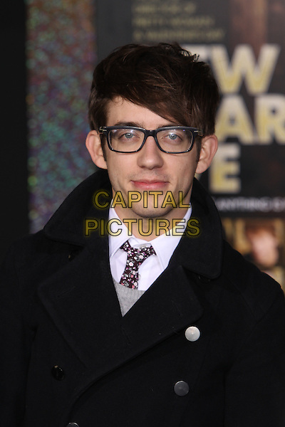 "Kevin McHale.The World Premiere of ""New Year's Eve' held at The Grauman's Chinese Theatre in Hollywood, California, USA..December 5th, 2011.headshot portrait black glasses.CAP/CEL .©CelPh/Capital Pictures."