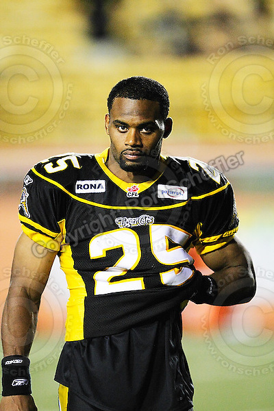 June 23, 2009; Hamilton, ON, CAN; Hamilton Tiger-Cats linebacker Markeith Knowlton (25). CFL football: Toronto Argonauts vs. Hamilton Tiger-Cats at Ivor Wynne Stadium. The Argos defeated the Tiger-Cats 27-17. Mandatory Credit: Ron Scheffler. Copyright (c) 2009 Ron Scheffler.