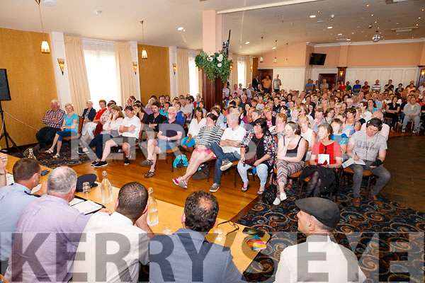 A massive crowd attended a public meeting in the Ring of Kerry Hotel in Cahersiveen on Tuesday evening following on from the murder and anti-social behavior in the area.