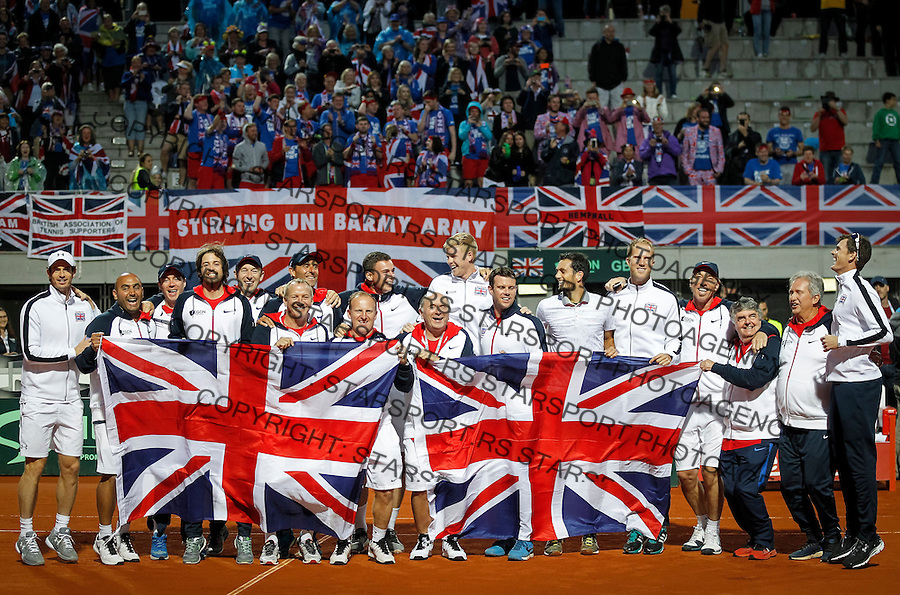 BELGRADE, SERBIA - JULY 17: Davis Cup team of Great Britain celebrate victory against Serbia at the Davis Cup Quarter Final match between Serbia and Great Britain on Stadium Tasmajdan on July 17, 2016 in Belgrade, Serbia. (Photo by Srdjan Stevanovic/Getty Images)