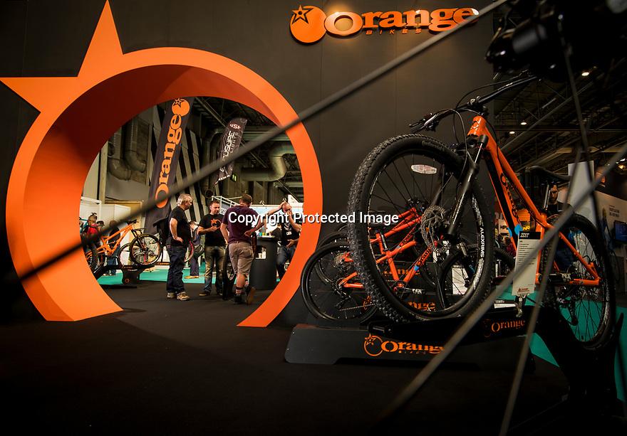 27/09/18<br /> <br /> ***Free photo for social media use***<br /> <br /> Orange Bikes stand at the Cycle Show, NEC, Birmingham<br /> <br /> <br /> All Rights Reserved, F Stop Press Ltd. (0)1335 344240 +44 (0)7765 242650  www.fstoppress.com rod@fstoppress.com