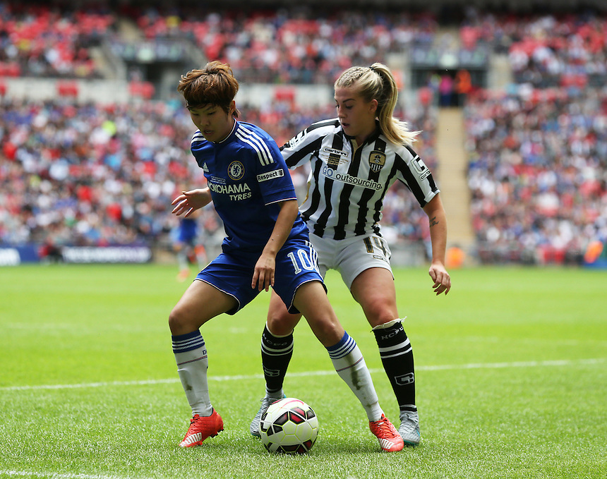 Chelsea's Ji So_Yun despite the attentions of  Notts County's Sophie Walton<br /> <br /> Photographer Kieran Galvin/CameraSport<br /> <br /> Women's Football - The SSE Women's FA Cup Final - Notts County Ladies v Chelsea Ladies - Saturday 01 August 2015 - Wembley - London<br /> <br /> &copy; CameraSport - 43 Linden Ave. Countesthorpe. Leicester. England. LE8 5PG - Tel: +44 (0) 116 277 4147 - admin@camerasport.com - www.camerasport.com