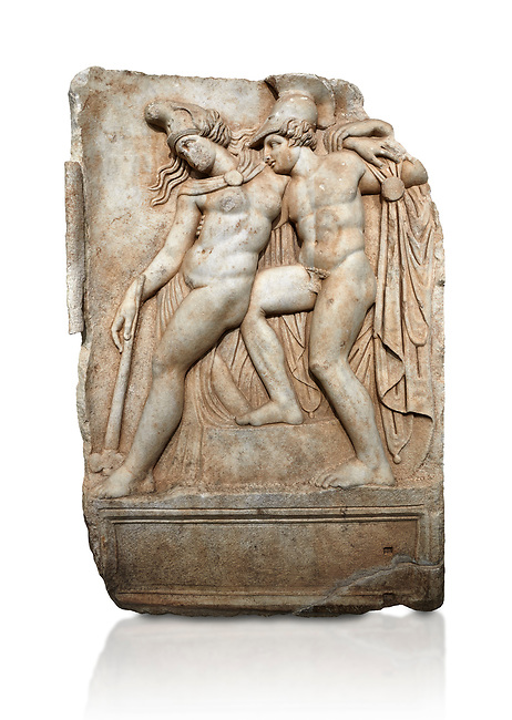 Roman Sebasteion relief sculpture of Achilles and a dying Amazon, Aphrodisias Museum, Aphrodisias, Turkey.   Against a black background.  <br /> <br /> Achilles supports the dying Amazon queen Penthesilea whom he has mortally wounded. Her double headed axe slips from her hands. The queen had come to fight against the Greeks in the Trojan war and Achilles fell in love with her.