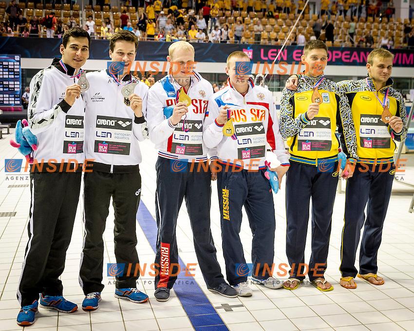Podium<br /> GER Germany Silver Medal<br /> HAUSDING Patrick<br /> FECK Stephan<br /> RUS Russia Gold Medal<br /> ZAKHAROV Ilia<br /> KUZNETSOV Evgenii<br /> UKR Ukraine<br /> KVASHA Illya<br /> GORSHKOVOZOV Oleksandr<br /> Diving 3 m  Synchro Springboard Men Final<br /> 32nd LEN European Championships <br /> Berlin, Germany 2014  Aug.13 th - Aug. 24 th<br /> Day10 - Aug. 22<br /> Photo P. Mesiano/Deepbluemedia/Inside