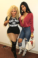 NEWARK, NJ - SEPTEMBER 25: Lil Kim and Cardi B pictured backstage at the Bad Boy Family Reunion concert at The Prudential Center in Newark, New Jersey on September 25, 2016. Credit: Walik Goshorn/MediaPunch
