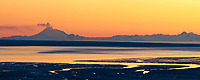 Panorama of plume of gas and vapor vent from the summit of Mt. Redbout volcano, chigmit mountains, aleutian range, as viewed across the Cook Inlet, southcentral, Alaska.