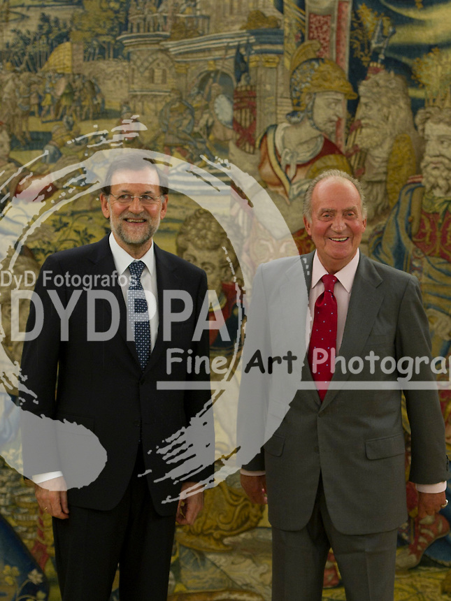22/08/2012. Zarzuela Palace. Madrid. Spain. King of Spain, juan Carlos, meets with the President of the Government of Spain, Mariano Rajoy. (C) Belen D. Alonso / DyD Fotografos