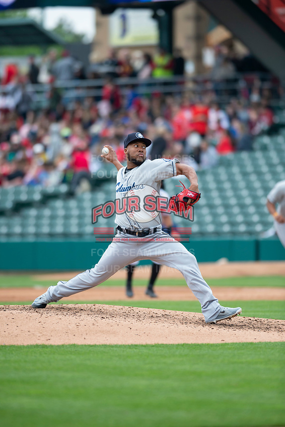 Columbus Clippers relief pitcher Henry Martinez (46) during an International League game against the Indianapolis Indians on April 30, 2019 at Victory Field in Indianapolis, Indiana. Columbus defeated Indianapolis 7-6. (Zachary Lucy/Four Seam Images)