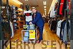 Frankie Murphy, Celsius menswear Tralee  showing the Covid-19 sanitiser station at the shop on Monday.