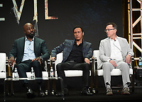 """BEVERLY HILLS - AUGUST 1: Mike Colter, Aasif Mandvi, Michael Emerson onstage during the """"Evil"""" panel at the CBS portion of the Summer 2019 TCA Press Tour at the Beverly Hilton on August 1, 2019 in Los Angeles, California. (Photo by Frank Micelotta/PictureGroup)"""