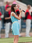 Ashley Barker sings the National Anthem before the American Association of Independant Professional Baseball game between the Grand Prairie AirHogs and the Fort Worth Cats at the historic LaGrave Baseball Field in Fort Worth, Tx. Fort Worth defeats Grand Prairie 8 to 7...