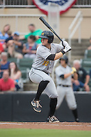 Chase Simpson (10) of the West Virginia Power at bat against the Kannapolis Intimidators at Intimidators Stadium on July 3, 2015 in Kannapolis, North Carolina.  The Intimidators defeated the Power 3-0 in a game called in the bottom of the 7th inning due to rain.  (Brian Westerholt/Four Seam Images)