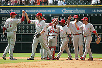 The Philadelphia Phillies celebrate their three game series sweep against the Houston Astros on Sunday April 11th, 2010 at Minute Maid Park in Houston, Texas.  (Photo by Andrew Woolley / Four Seam Images)