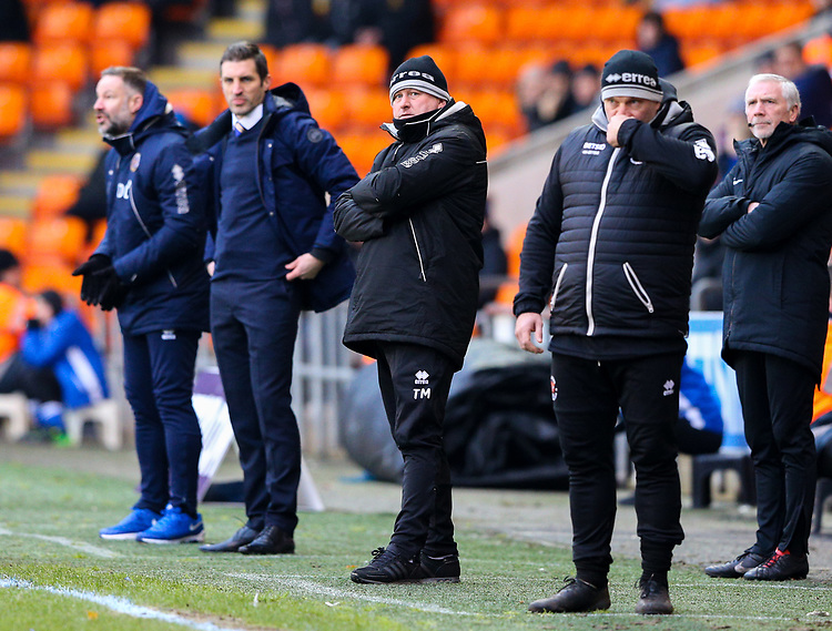 Blackpool's manager Terry McPhillips watches on during the first half<br /> <br /> Photographer Alex Dodd/CameraSport<br /> <br /> The EFL Sky Bet League One - Blackpool v Shrewsbury Town - Saturday 19 January 2019 - Bloomfield Road - Blackpool<br /> <br /> World Copyright © 2019 CameraSport. All rights reserved. 43 Linden Ave. Countesthorpe. Leicester. England. LE8 5PG - Tel: +44 (0) 116 277 4147 - admin@camerasport.com - www.camerasport.com