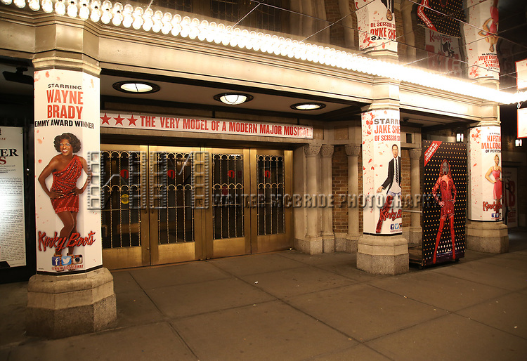 "Theatre Marquee for Wayne Brady's return to ""Kinky Boots"" on Broadway also starring Jake Shears on March 5, 2018 at the Hirschfeld Theatre in New York City."