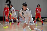 Korea's Jisoo Choi in action during the World Floorball Championships 2017 Qualification for Asia Oceania Region - Korea v China at ASB Sports Centre , Wellington, New Zealand on Saturday 4 February 2017.<br /> Photo by Masanori Udagawa<br /> www.photowellington.photoshelter.com.