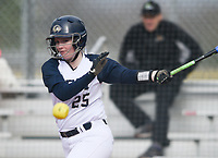 NWA Democrat-Gazette/CHARLIE KAIJO Bentonville West High School catcher Sydney Sneed (25) hits during a softball game, Thursday, March 13, 2019 at Bentonville West High School in Centerton.