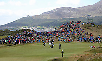 Sunday 31st May 2015; The crowd at the back of the 5th green watch Padraig Harrington, Ireland, and Matt Ford, England, putt out<br /> <br /> Dubai Duty Free Irish Open Golf Championship 2015, Round 4 County Down Golf Club, Co. Down. Picture credit: John Dickson / DICKSONDIGITAL