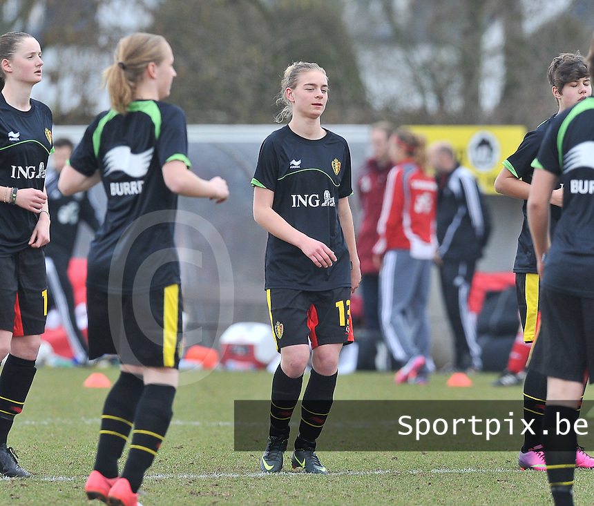 Denmark U17 - Belgium U17 : 13 Margaux Van Ackere.foto DAVID CATRY / Vrouwenteam.be