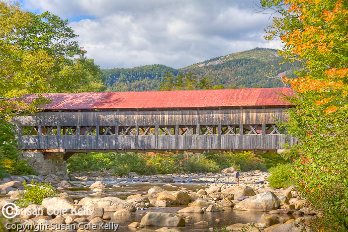 Fall colors the Albany covered Bridge, White Mountain National Forest, NH