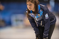 Glasgow. SCOTLAND.  Skip.Eve MUIRHEAD&quot; studies the lay of the &quot;Stones&quot;, in the &quot;House&quot; during  the &quot;Round Robin&quot; Game.  Scotland vs Russia,  Le Gruy&egrave;re European Curling Championships. 2016 Venue, Braehead  Scotland<br /> Thursday  24/11/2016<br /> <br /> [Mandatory Credit; Peter Spurrier/Intersport-images]