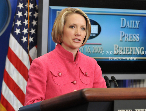 Washington, D.C. - January 16, 2009 -- White House Press Secretary Dana Perino conducts the final press briefing of the George W. Bush Administration in the Brady Press Briefing Room of the White House in Washington, DC on Friday, January 16, 2009..Credit: Ron Sachs / Pool via CNP