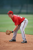 GCL Nationals first baseman Jackson Cramer (25) during the second game of a doubleheader against the GCL Marlins on July 23, 2017 at Roger Dean Stadium Complex in Jupiter, Florida.  GCL Nationals defeated the GCL Marlins 1-0.  (Mike Janes/Four Seam Images)