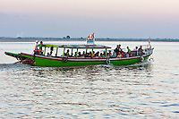 Myanmar, Burma, near Bagan.  Local Passenger Boat on the Ayeyarwady River.
