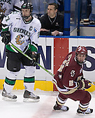 Matt Smaby (Mark Poolman) Brett Motherwell - The Boston College Eagles defeated the University of North Dakota Fighting Sioux 6-5 on Thursday, April 6, 2006, in the 2006 Frozen Four afternoon Semi-Final at the Bradley Center in Milwaukee, Wisconsin.