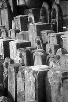 Detail of centuries-old gravestones, Japan