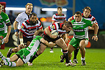 Grant Henson gets tackled by Karl Bryson.  ITM Cup rugby game between Counties Manukau and Manawatu played at Bayer Growers Stadium on Saturday August 21st 2010..Counties Manukau won 35 - 14 after leading 14 - 7 at halftime.